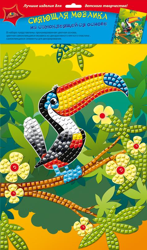 Апплика Мозаика сияющая ТуканС2258-07Сияющая мозаика на самоклеящейся основе А4 из фольгинированного мягкого пластика ЭВА. Набор состоит из: пронумерованной цветной основы, цветной самоклеящейся мозаики из фольгинированного мягкого пластика, самоклеящихся элементов для декорирования.