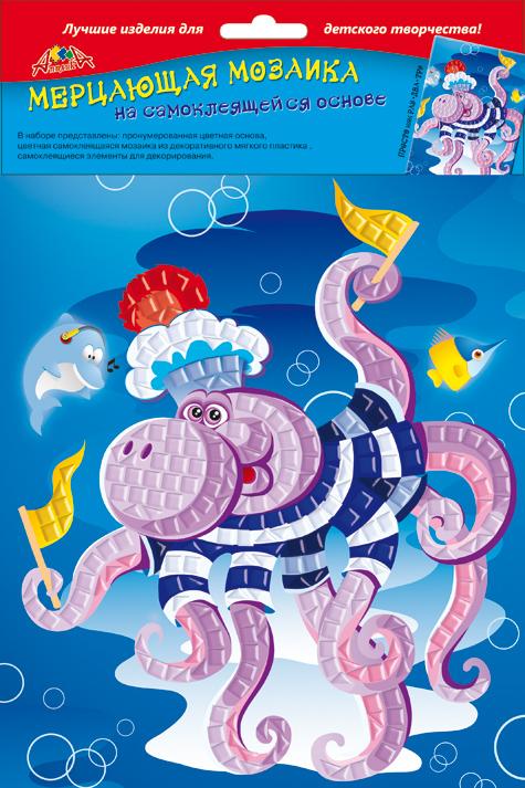 Апплика Мозаика мерцающая ОсьминожеС2420-03Самоклеящаяся мерцающая мозаика А5 из мягкого пластика ЭВА. В наборе представлены: пронумерованная цветная основа, цветная самоклеящаяся мозаика из мягкого пластика, самоклеящиеся элементы для декорирования.