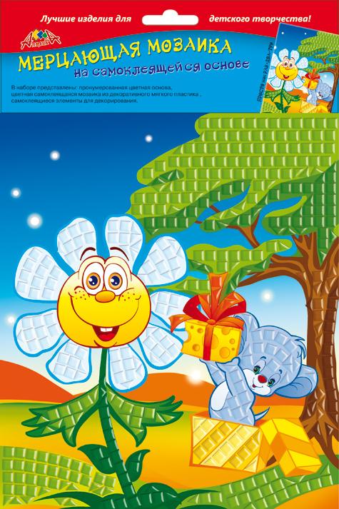 Апплика Мозаика мерцающая Ромашка и мышкаС2420-06Самоклеящаяся мерцающая мозаика А5 из мягкого пластика ЭВА. В наборе представлены: пронумерованная цветная основа, цветная самоклеящаяся мозаика из мягкого пластика, самоклеящиеся элементы для декорирования.