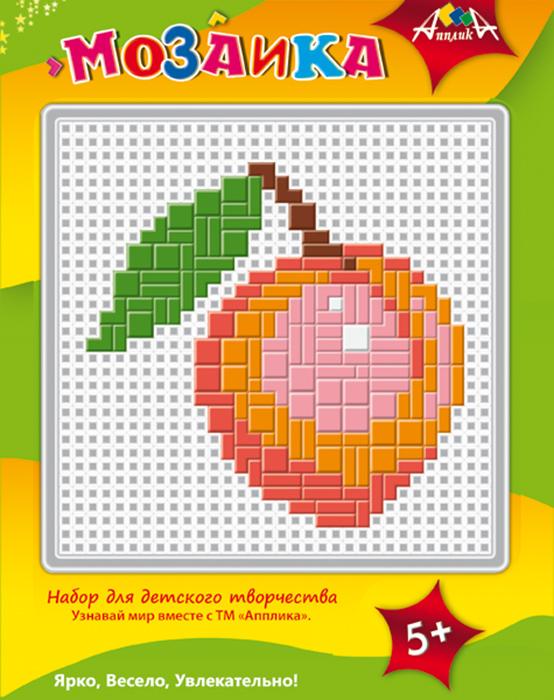 Апплика Мозаика ПерсикС2429-05Набор содержит пластиковую сетчатую основу, цветные пластиковые элементы мозаики, пластиковый инструмент - щипчики. Чтобы собрать мозаику, необходимо подложить под сетчатую основу цветной образец на обложке упаковки.