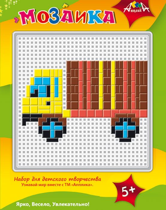 Апплика Мозаика ГрузовикС2429-13Набор содержит пластиковую сетчатую основу, цветные пластиковые элементы мозаики, пластиковый инструмент - щипчики. Чтобы собрать мозаику, необходимо подложить под сетчатую основу цветной образец на обложке упаковки.
