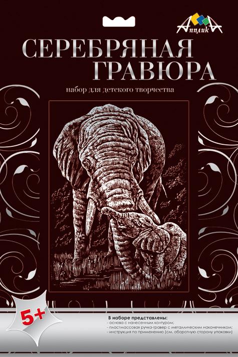 Апплика Гравюра Слоны