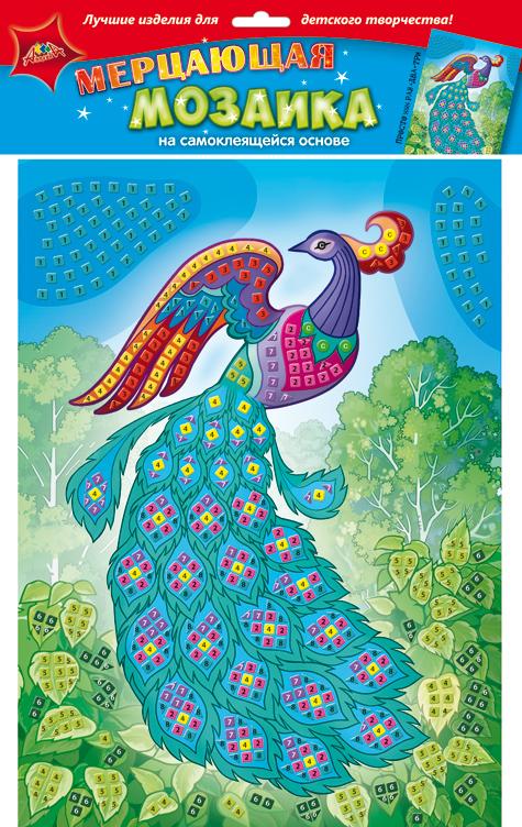 Апплика Мозаика мерцающая ПавлинС1573-28Мерцающая мозаика на самоклеящейся основе из мягкого пластика ЭВА, со стразами. В наборе находятся: пронумерованная цветная основа, цветная самоклеящаяся мозаика из декоративного мягкого пластика, самоклеящиеся элементы для декорирования.