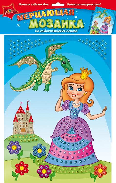 Апплика Мозаика мерцающая ПринцессаС1573-29Мерцающая мозаика на самоклеящейся основе из мягкого пластика ЭВА, со стразами. В наборе находятся: пронумерованная цветная основа, цветная самоклеящаяся мозаика из декоративного мягкого пластика, самоклеящиеся элементы для декорирования.