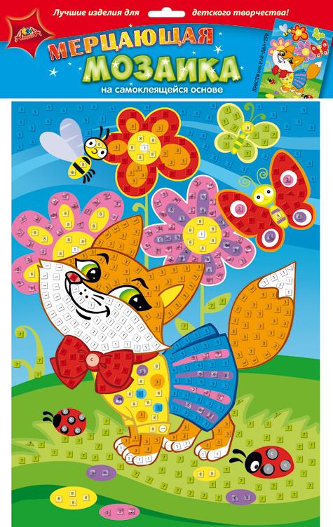 Апплика Мозаика мерцающая ЛисенокС1573-26Мерцающая мозаика на самоклеящейся основе из мягкого пластика ЭВА, со стразами. В наборе находятся: пронумерованная цветная основа, цветная самоклеящаяся мозаика из декоративного мягкого пластика, самоклеящиеся элементы для декорирования.