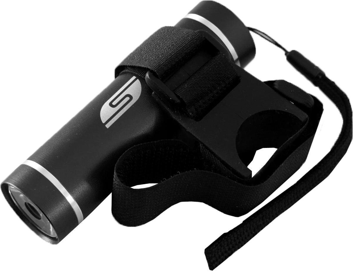 Фонарь велосипедный SOLARIS T-5V3109blackВелосипедный фонарь, можно использовать также в качестве карманного фонаря. Фонарь выполнен из качественного алюминия с защитным анодированием корпуса. Влагозащищённый — стандарт IPX6. Фонарь снабжен современным светодиодом мощностью 1 Ватт. Мощность светового потока 60 люмен, дальность эффективного излучения света 100 метров. Размеры/вес фонаря: 90мм *26мм; 40грамм (без батарей). _______________________________________________________________________________________________ Сферы применения фонаря SOLARIS T-5V В комплект фонаря входит универсальное вело крепление. Благодаря расширенной комплектации фонарь имеет различные назначения: - Велосипедный фонарь. Закрепите фонарь на руле велосипеда при помощи универсального велокрепления. Корпус велокрепления выполнен из плотной резины и снабжён нейлоновыми лентами с липучками и пряжками. Благодаря этому велокрепление подходит практически для любого диаметра руля велосипеда. Плотная резиновая основа крепления обеспечивает очень...