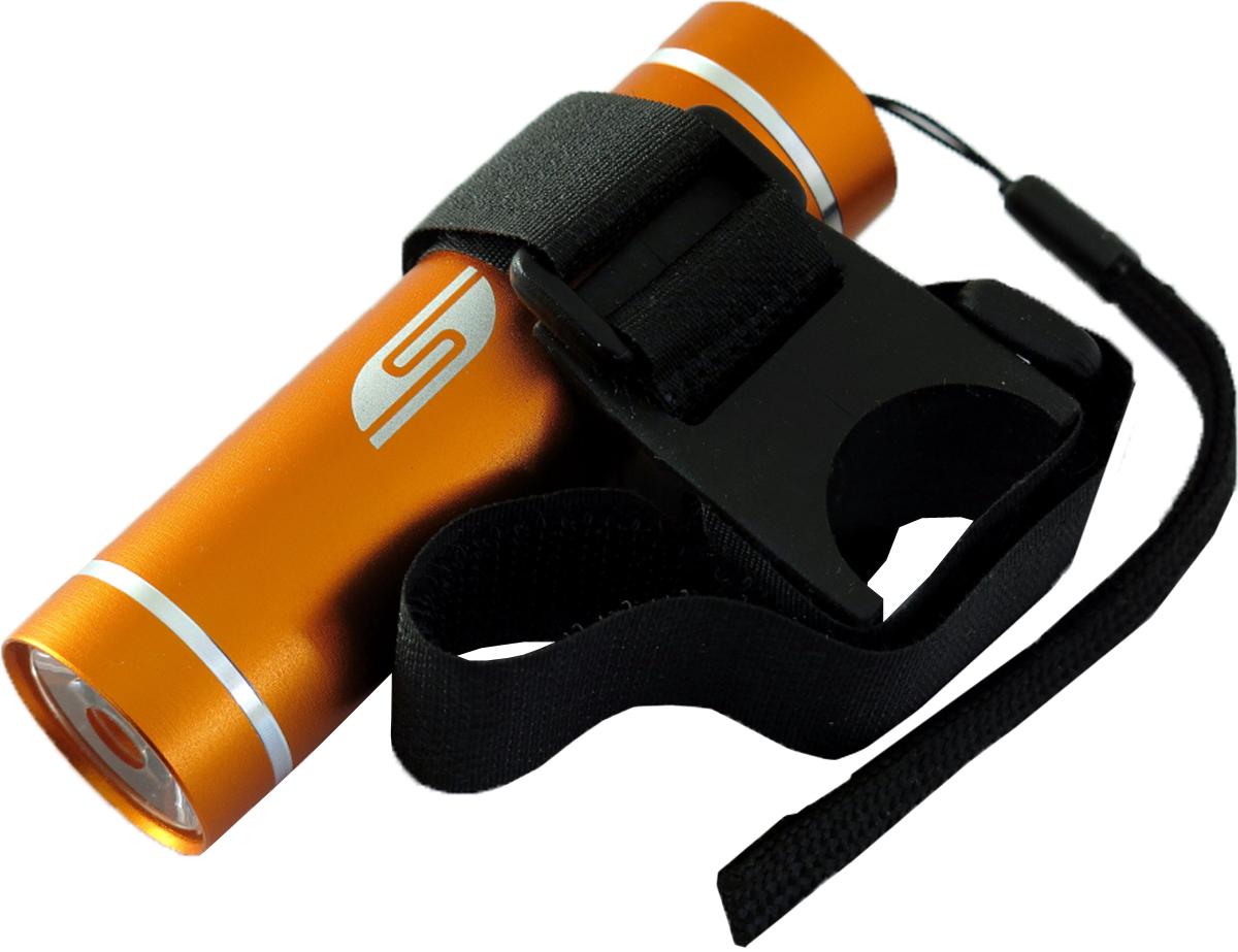 Фонарь велосипедный SOLARIS T-5V3109orangeВелосипедный фонарь, можно использовать также в качестве карманного фонаря. Фонарь выполнен из качественного алюминия с защитным анодированием корпуса. Влагозащищённый — стандарт IPX6. Фонарь снабжен современным светодиодом мощностью 1 Ватт. Мощность светового потока 60 люмен, дальность эффективного излучения света 100 метров. Размеры/вес фонаря: 90мм *26мм; 40грамм (без батарей). _______________________________________________________________________________________________ Сферы применения фонаря SOLARIS T-5V В комплект фонаря входит универсальное вело крепление. Благодаря расширенной комплектации фонарь имеет различные назначения: - Велосипедный фонарь. Закрепите фонарь на руле велосипеда при помощи универсального велокрепления. Корпус велокрепления выполнен из плотной резины и снабжён нейлоновыми лентами с липучками и пряжками. Благодаря этому велокрепление подходит практически для любого диаметра руля велосипеда. Плотная резиновая основа крепления обеспечивает очень...
