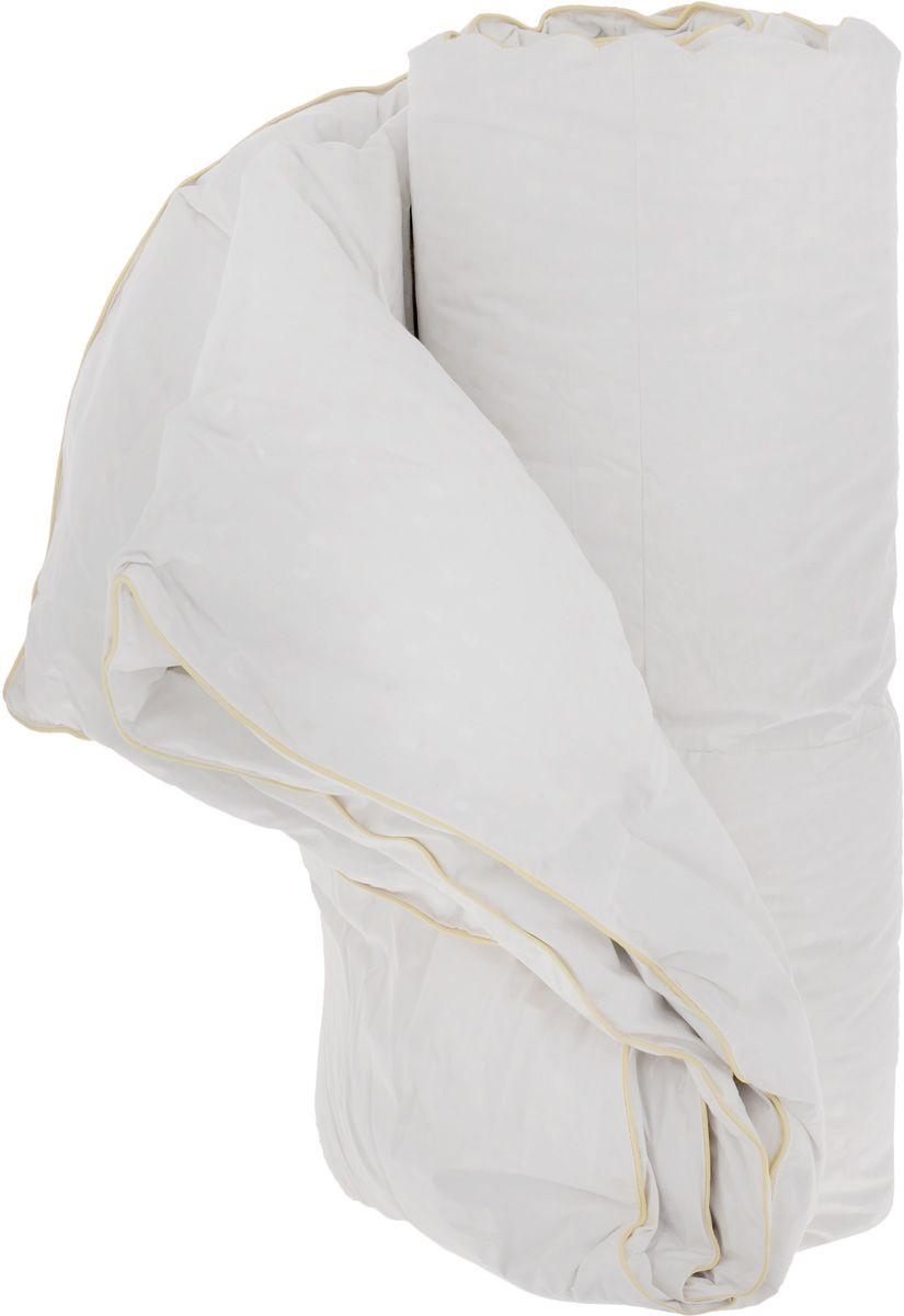 Одеяло теплое Легкие сны Афродита, наполнитель: гусиный пух категории Экстра, 155 х 215 см155(16)02-ЛЭТеплое 1,5-спальное одеяло Легкие сны Афродита поможет расслабиться, снимет усталость и подарит вам спокойный и здоровый сон. Одеяло наполнено серым гусиным пухом категории Экстра, оно необычайно легкое, пышное, обладает превосходными теплозащитными свойствами. Кассетное распределение пуха способствует сохранению формы и воздушности изделия. Чехол одеяла выполнен из прочного пуходержащего хлопкового тика с рисунком в виде мелких квадратов. Это натуральная хлопчатобумажная ткань, отличающаяся высокой плотностью, идеально подходит для пухо-перовых изделий, так как устойчива к проколам и разрывам, а также отличается долговечностью в использовании. По краю одеяла выполнена отделка атласным кантом цвета шампань. Универсальный белый цвет идеально подойдет к любой расцветке постельного белья. Одеяло можно стирать в стиральной машине.