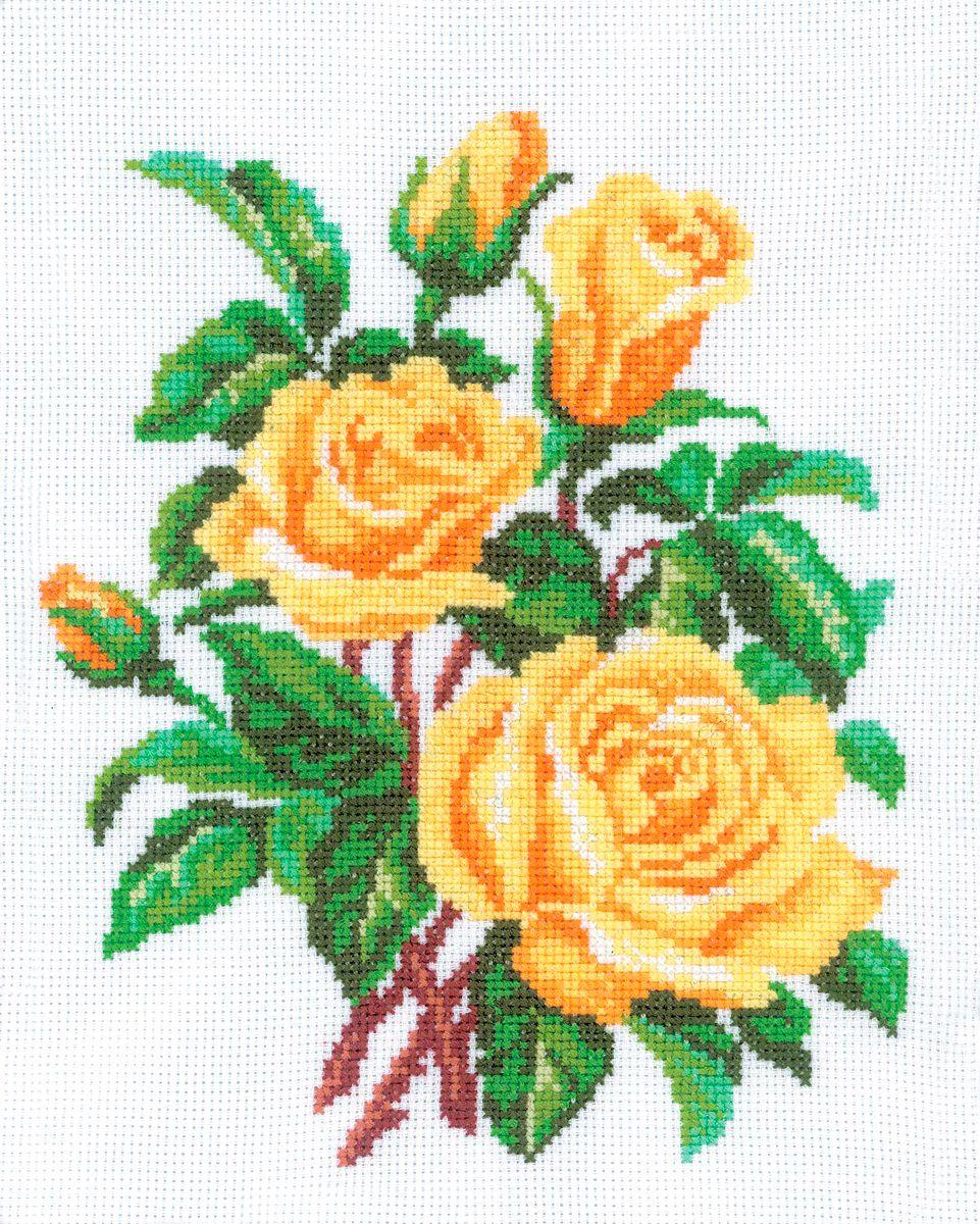 Набор для вышивания RTO Желтые розы, 20 см х 25 см. M143M143Мулине на карте, разобранное по цветам, канва, символьная схема, игла, инструкция
