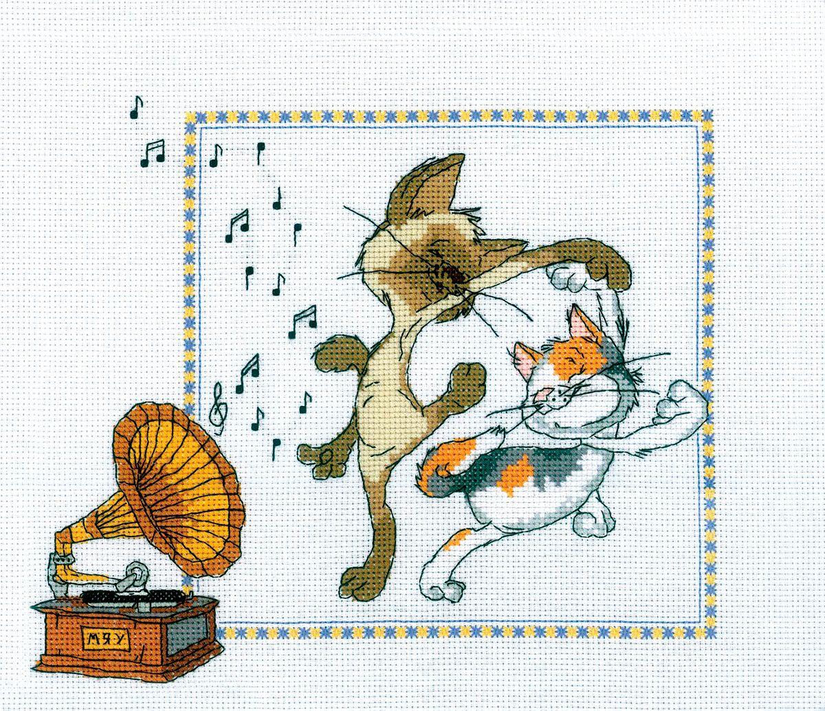 Набор для вышивания RTO Кошачий вальс, 28 см х 24 см. M215M215Мулине на карте, разобранное по цветам, канва, символьная схема, игла, инструкция