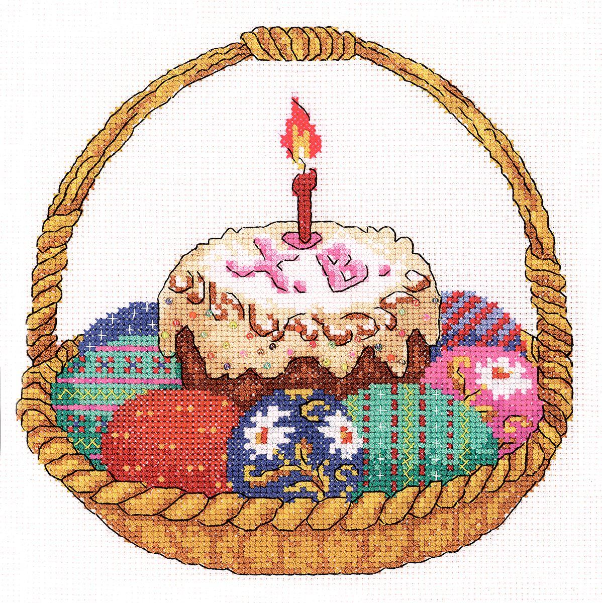 Набор для вышивания RTO Со Светлой Пасхой!, 20 см х 20 см. M245M245Мулине на карте, разобранное по цветам, канва, символьная схема, игла, инструкция