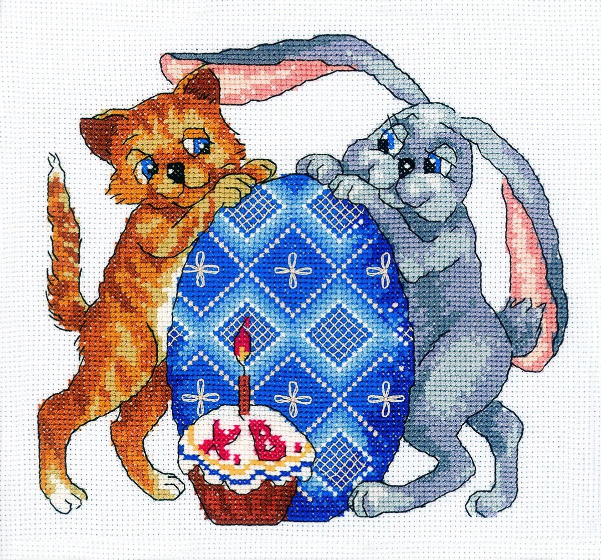 Набор для вышивания RTO Со Светлой Пасхой!, 20 см х 20 см. M246M246Мулине на карте, разобранное по цветам, канва, символьная схема, игла, инструкция