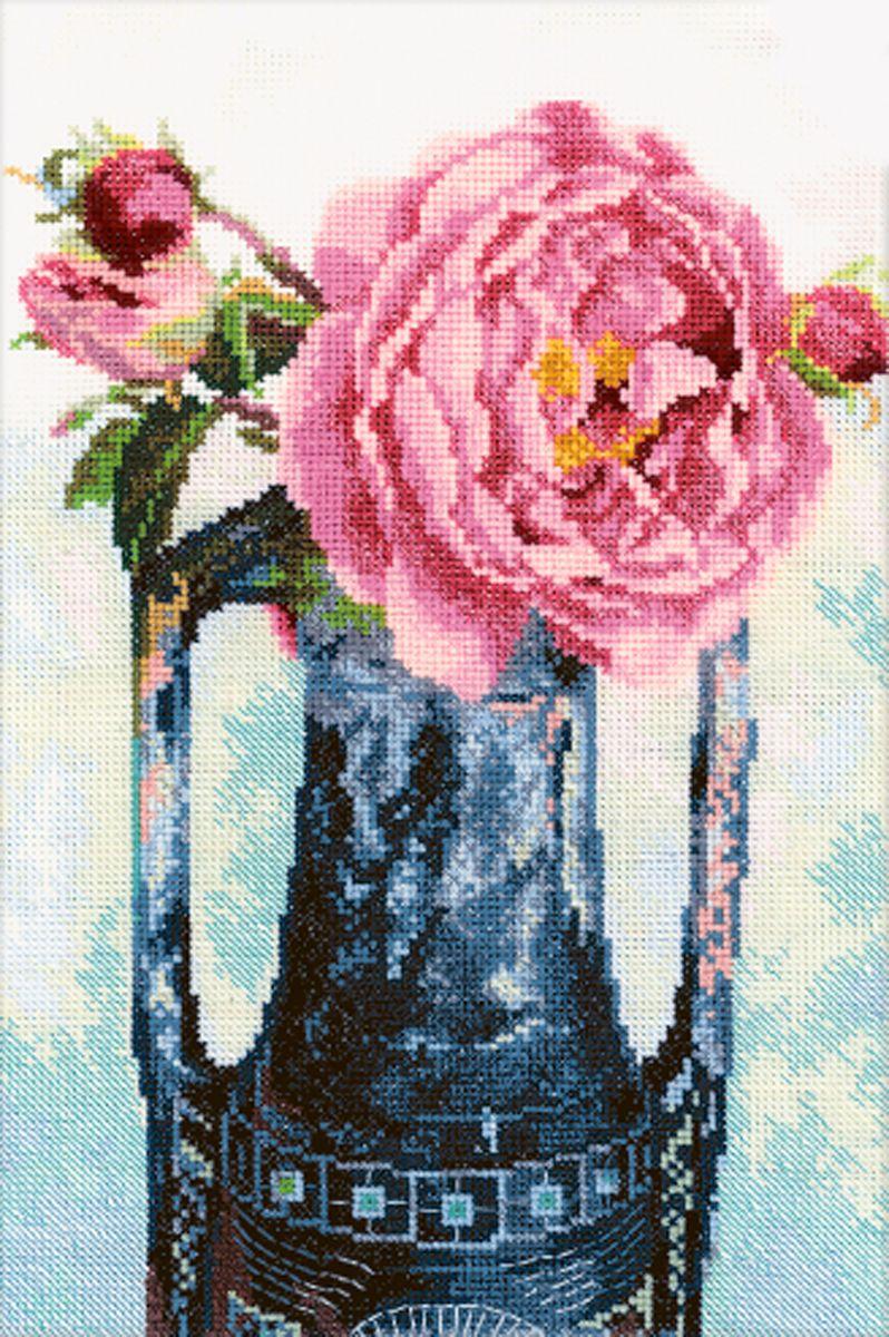 Набор для вышивания RTO Роза в кувшине, 20 см х 30 см. M299M299Мулине на карте, разобранное по цветам, канва, символьная схема, игла, инструкция