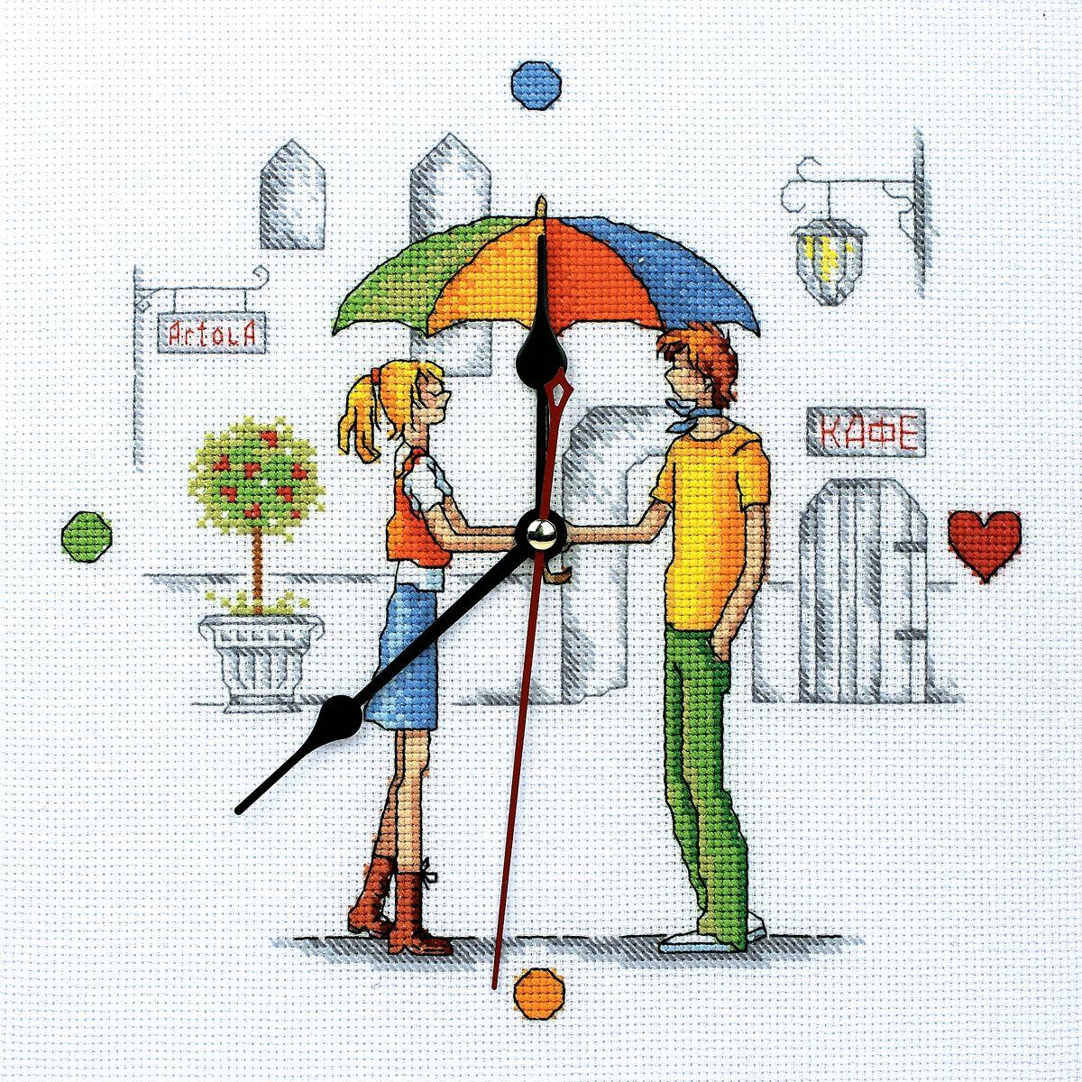 Набор для вышивания RTO Встреча под зонтом, 25 см х 25 см. M40002M40002Мулине на карте, разобранное по цветам, канва, символьная схема, игла, инструкция, часовой механизм со стрелками