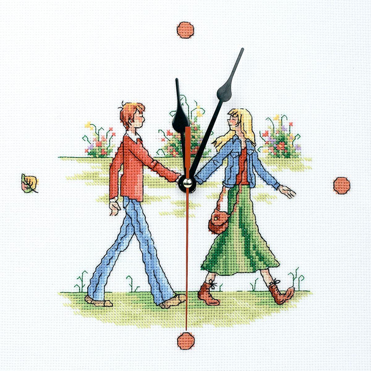 Набор для вышивания RTO Соединяя руки, 25 см х 25 см. M40003M40003Мулине на карте, разобранное по цветам, канва, символьная схема, игла, инструкция, часовой механизм со стрелками