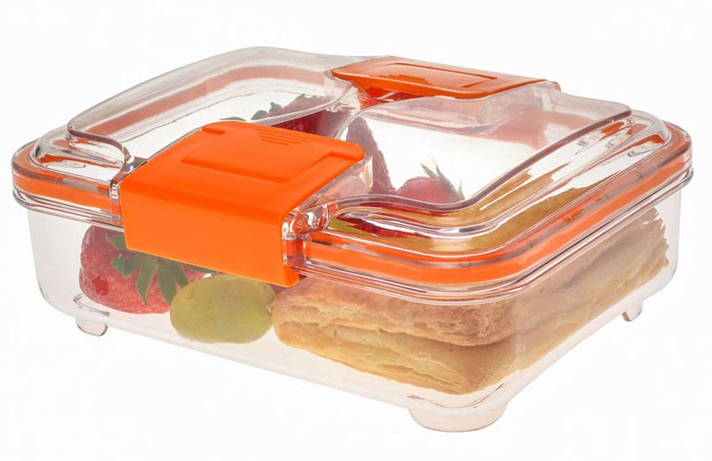 Контейнер Status RC075, цвет: прозрачный, оранжевый, 0,75 лRC075 OrangeВакуумный контейнер Status RC075 изготовлен из прочного хрустально-прозрачного тритана, рекомендован для хранения следующих продуктов: фрукты, овощи, хлеб, колбасы, сыры, сладости, соусы, супы. Благодаря использованию вакуумных контейнеров, продукты не подвергаются внешнему воздействию и срок хранения значительно увеличивается. Продукты сохраняют свои вкусовые качества и аромат, а запахи в холодильнике не перемешиваются. Допускается замораживание (до -21 °C), мойка контейнера в посудомоечной машине, разогрев в СВЧ (без крышки). Объем контейнера: 0,75 л. Размер: 18,5 х 15 х 7 см.