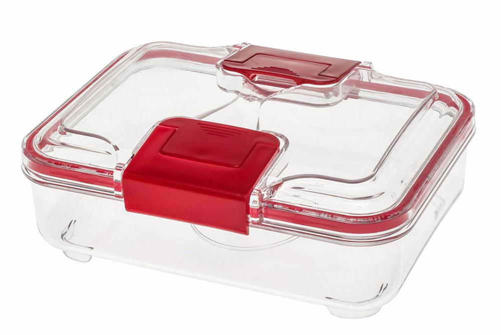 Контейнер Status RC075, цвет: прозрачный, красный, 0,75 лRC075 RedВакуумный контейнер Status RC075 изготовлен из прочного хрустально-прозрачного тритана, рекомендован для хранения следующих продуктов: фрукты, овощи, хлеб, колбасы, сыры, сладости, соусы, супы. Благодаря использованию вакуумных контейнеров, продукты не подвергаются внешнему воздействию и срок хранения значительно увеличивается. Продукты сохраняют свои вкусовые качества и аромат, а запахи в холодильнике не перемешиваются. Допускается замораживание (до -21 °C), мойка контейнера в посудомоечной машине, разогрев в СВЧ (без крышки). Объем контейнера: 0,75 л. Размер: 18,5 х 15 х 7 см.