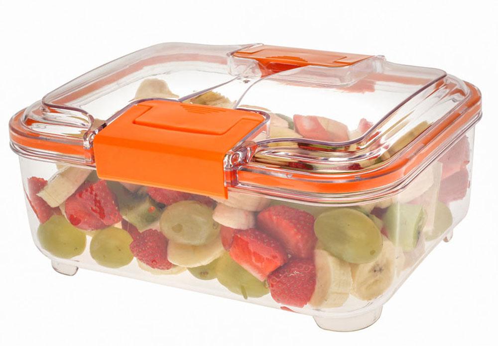 Контейнер Status RC15, цвет: прозрачный, оранжевый, 1,5 лRC15 OrangeВакуумный контейнер Status RC15 изготовлен из прочного хрустально-прозрачного тритана, рекомендован для хранения следующих продуктов: фрукты, овощи, хлеб, колбасы, сыры, сладости, соусы, супы. Благодаря использованию вакуумных контейнеров, продукты не подвергаются внешнему воздействию и срок хранения значительно увеличивается. Продукты сохраняют свои вкусовые качества и аромат, а запахи в холодильнике не перемешиваются. Допускается замораживание (до -21 °C), мойка контейнера в посудомоечной машине, разогрев в СВЧ (без крышки). Объем контейнера: 1,5 л. Размер: 21 х 17 х 9,5 см.