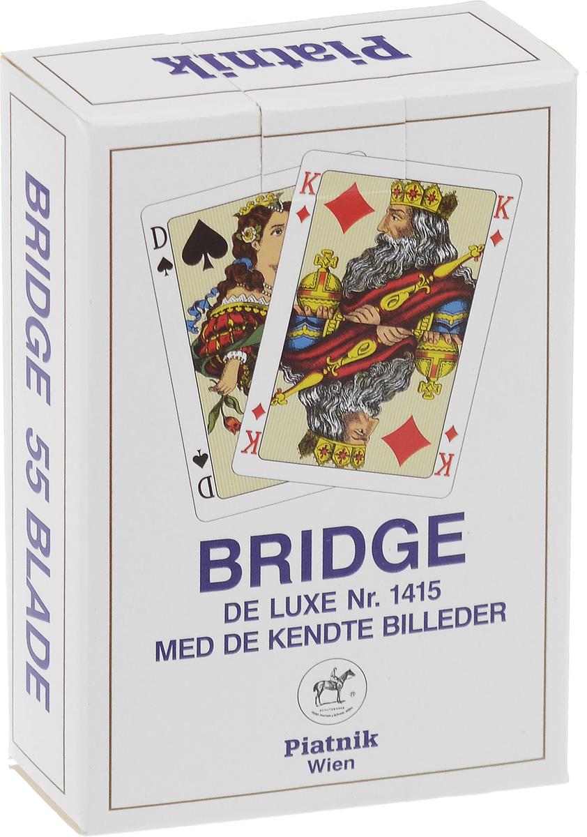 Профессиональные игральные карты Piatnik Bridge De Luxe, цвет: синий, 55 листов1402_синийКарты Piatnik Bridge De Luxe подходят для профессиональных игроков в покер и другие карточные игры, так как имеют очень гладкую поверхность, высококачественное пластиковое покрытие и стандартный покерный размер. Размер карты: 6,2 х 9,1 см.