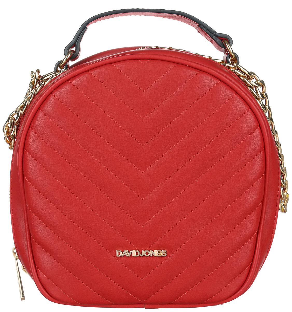 Сумка женская David Jones, цвет: красный. 5001-35001-3 REDСтильная женская сумка David Jones, выполненная из искусственной кожи, оформлена с лицевой стороны декоративной стежкой. Изделие имеет одно отделение, закрывающееся на застежку-молнию. Внутри сумки находятся накладной открытый карман и прорезной карман на застежке-молнии. Снаружи, на задней стенке расположен прорезной карман на застежке-молнии. Сумка оснащена плечевым ремнем в виде цепочки и удобной ручкой. В комплект входит съемный регулируемый плечевой ремень и сумка-чехол для хранения. Модная сумка идеально подчеркнет ваш неповторимый стиль.