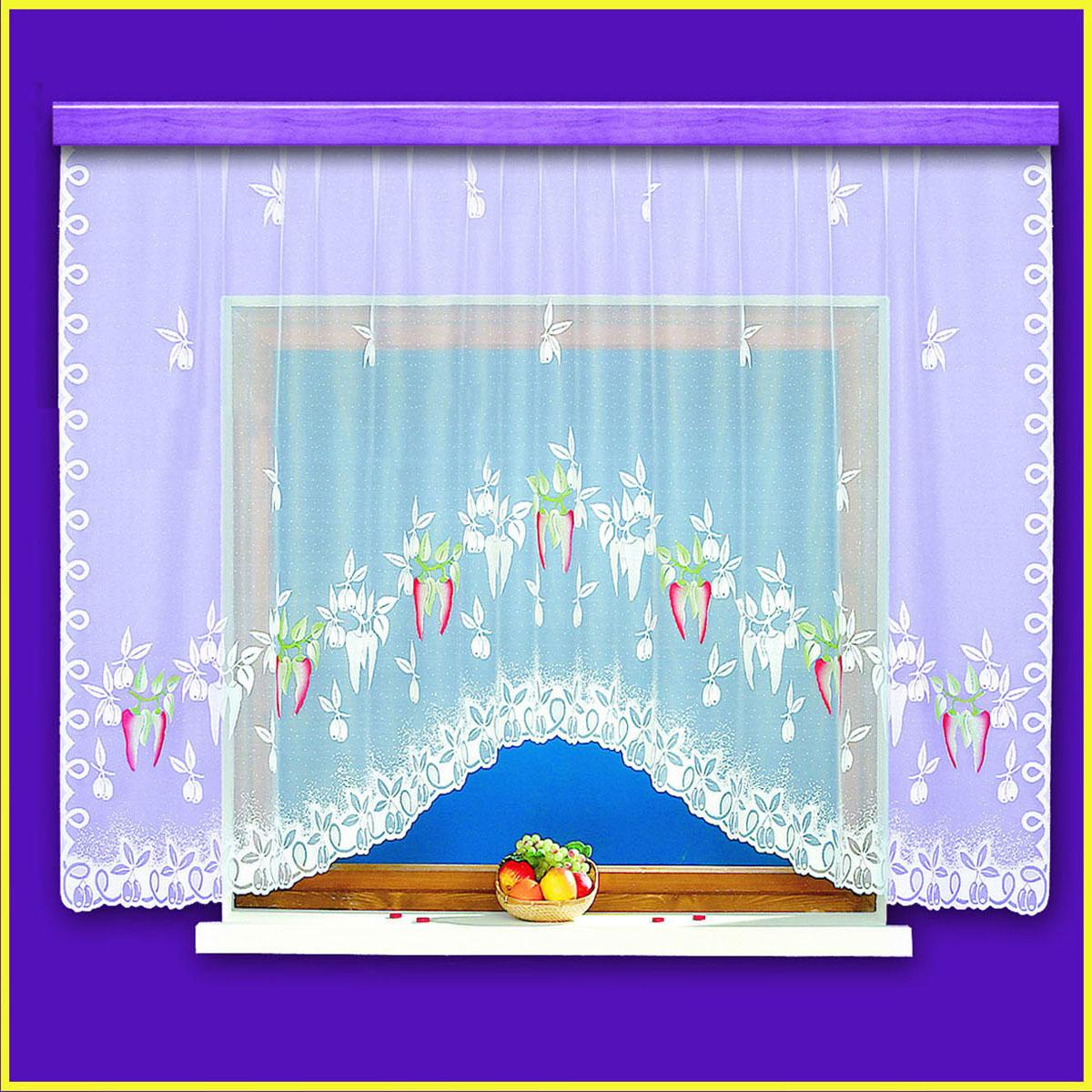 Гардина Haft, цвет: белый, ширина 310 см, высота 160 см10370/160белая жаккардовая гардина с крашенным изображением острого перца Размеры: высота 160, ширина 310