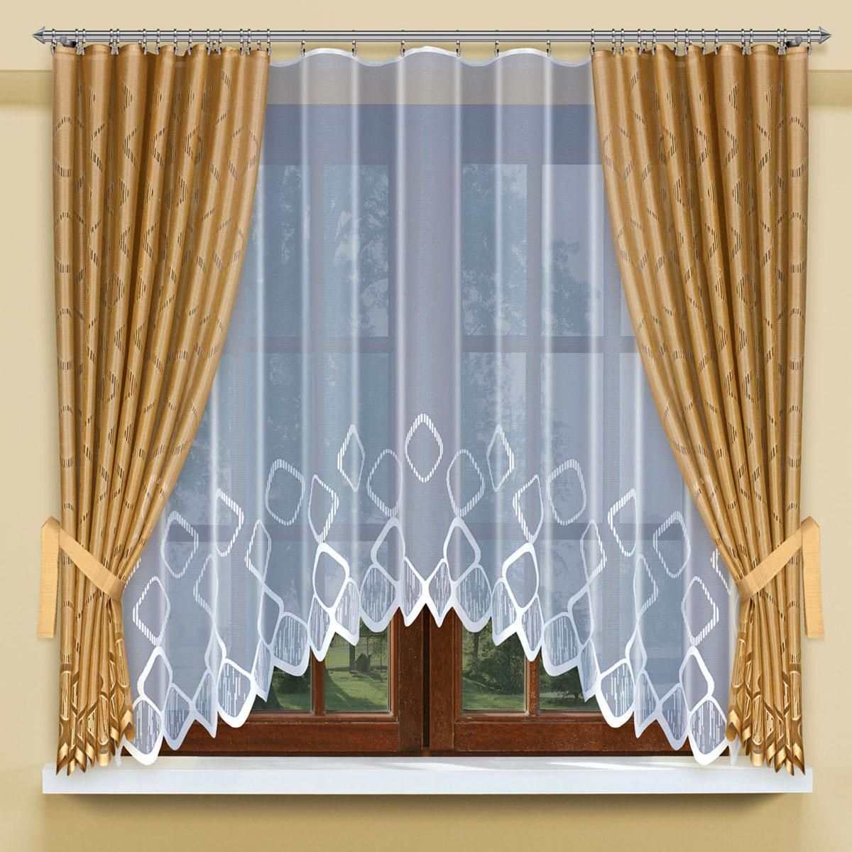 Гардина Haft, цвет: золотистый, высота 170 см200800/160комплект штор для кухни, состоящий из белого жаккардового тюля , портьер золотистого цвета и подхватов Размеры: тюль -высота 160см х ширина 300см,шторы(высота 170смх ширина 145см)*2