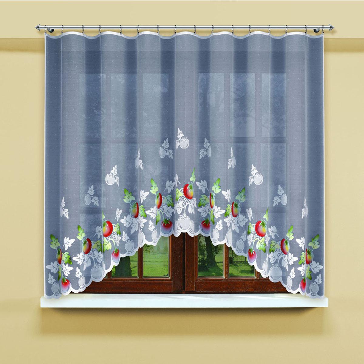 Гардина Haft, цвет: белый, ширина 300 см, высота 160 см. 202690/160202690/160Белая гардина из жаккардовой ткани с крашенным рисунком помидорок Размеры: высота 160см*ширина 300см