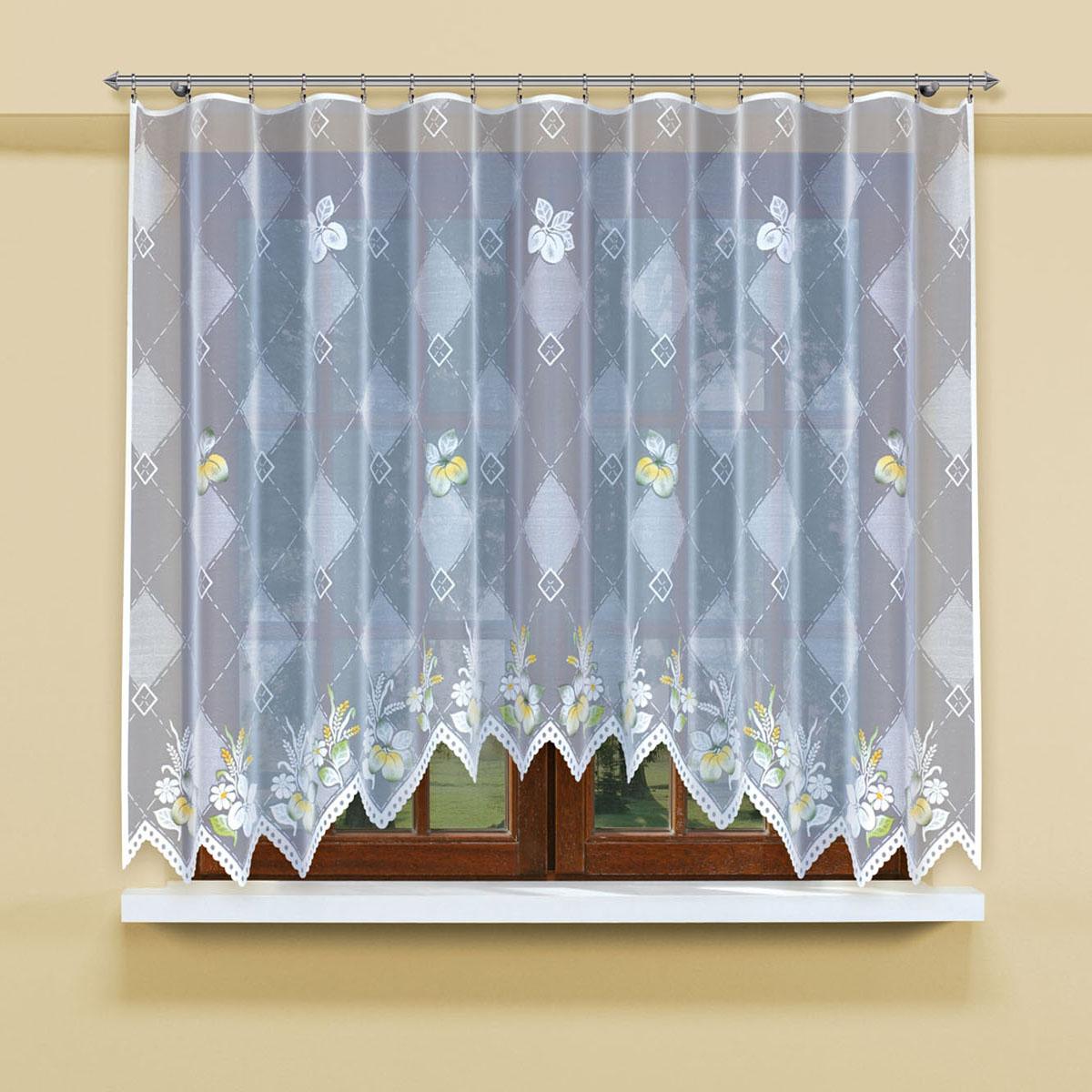 Гардина Haft, цвет: белый, ширина 300 см, высота 160 см. 206900/160206900/160Гардина-арка из жаккардовой ткани, выполненная в белом цвете с чередующимся по тону ромбическим узором и крашенным рисунком цветов Размеры: высота 160 см*ширина 300см