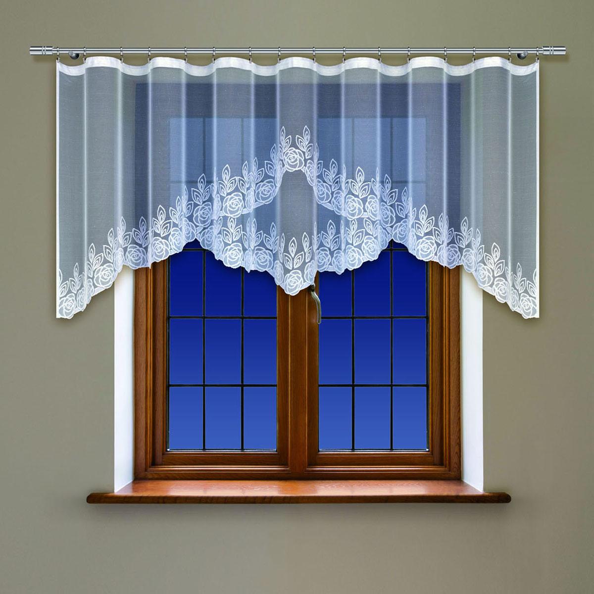 Гардина Haft, на ленте, цвет: белый, высота 90 см. 214250214250/90Гардина Haft, изготовленная из полиэстера, станет великолепным украшением любого окна. Тонкое плетение и оригинальный дизайн привлекут к себе внимание. Изделие органично впишется в интерьер. Гардина крепится на карниз при помощи ленты, которая поможет красиво и равномерно задрапировать верх.