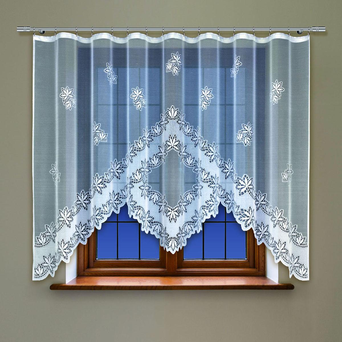 Гардина Haft, цвет: белый, ширина 300 см, высота 160 см. 214360/160214360/160Жаккардовая гардина в кухню белого цвета Размеры: высота 160см * ширина 300см