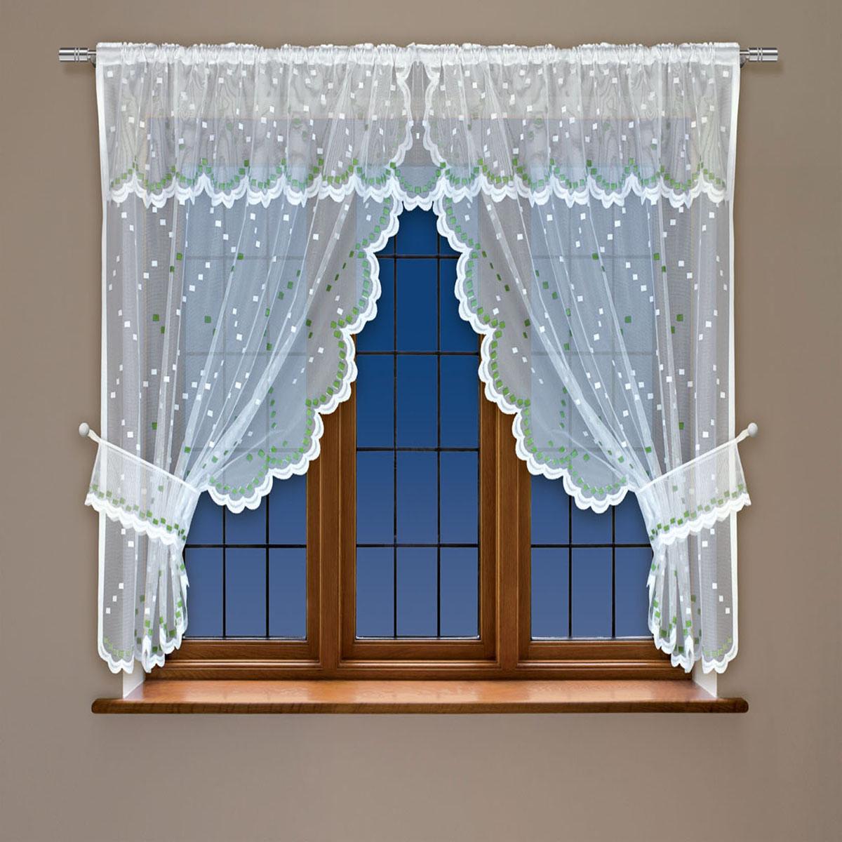 Гардина Haft, на кулиске, цвет: белый, зеленый, высота 137 см. 228410228410/137 зеленыйВоздушная гардина Haft, выполненная из полиэстера, великолепно украсит любое окно. Изделие имеет оригинальный дизайн и органично впишется в интерьер помещения. Гардина крепится на карниз при помощи кулиски.