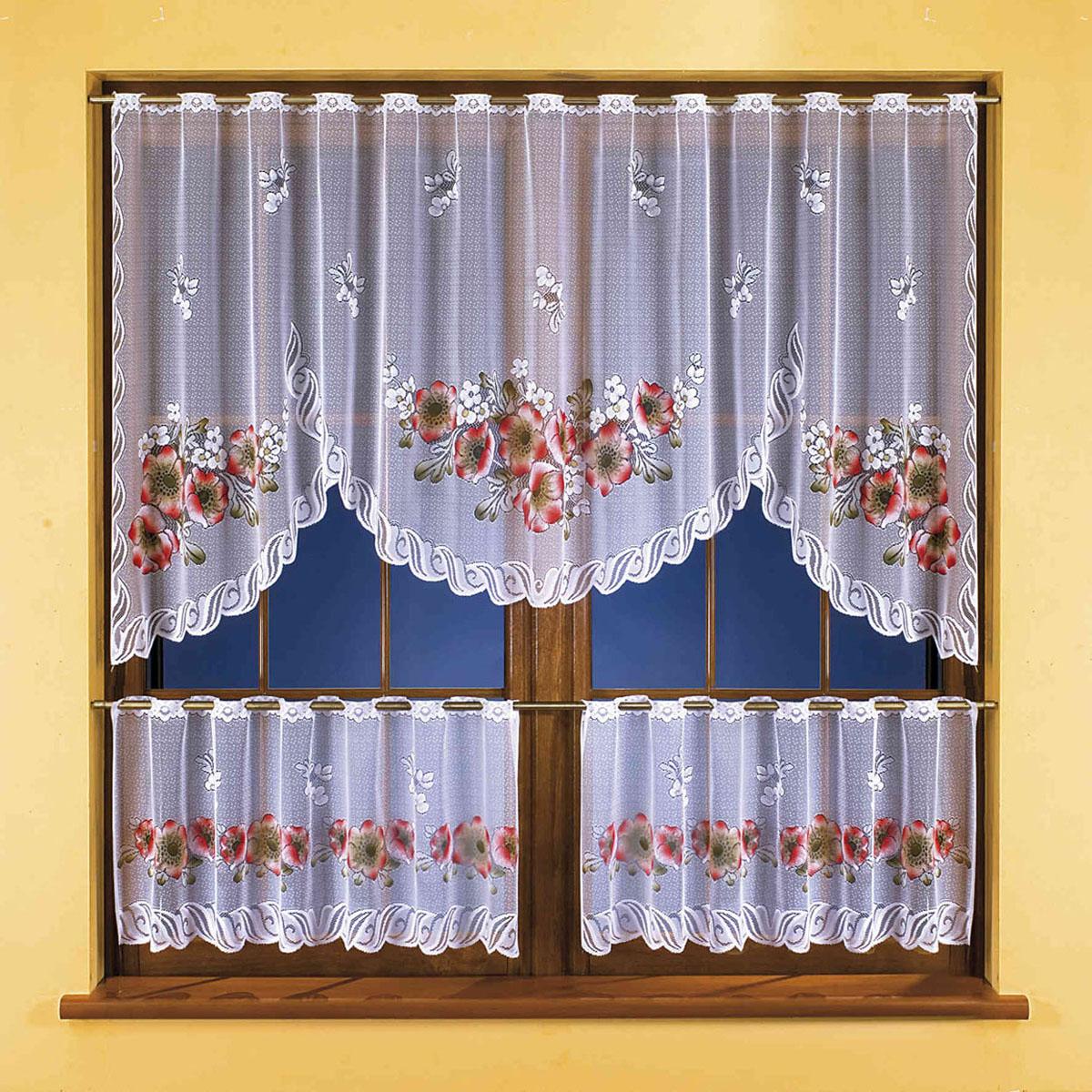 Гардина Wisan, цвет: белый, высота 45 см3261Жаккардовый комплект гардин белого цвета с цветным узором, состоящий из гардинного полотна для верхней части окна, а также двух шторок-кафе для нижней. Крепится на штангу с помощью специальных прорезей. Размеры: ширина 250смх высота100см+ (ширина125смх высота 45смх)2
