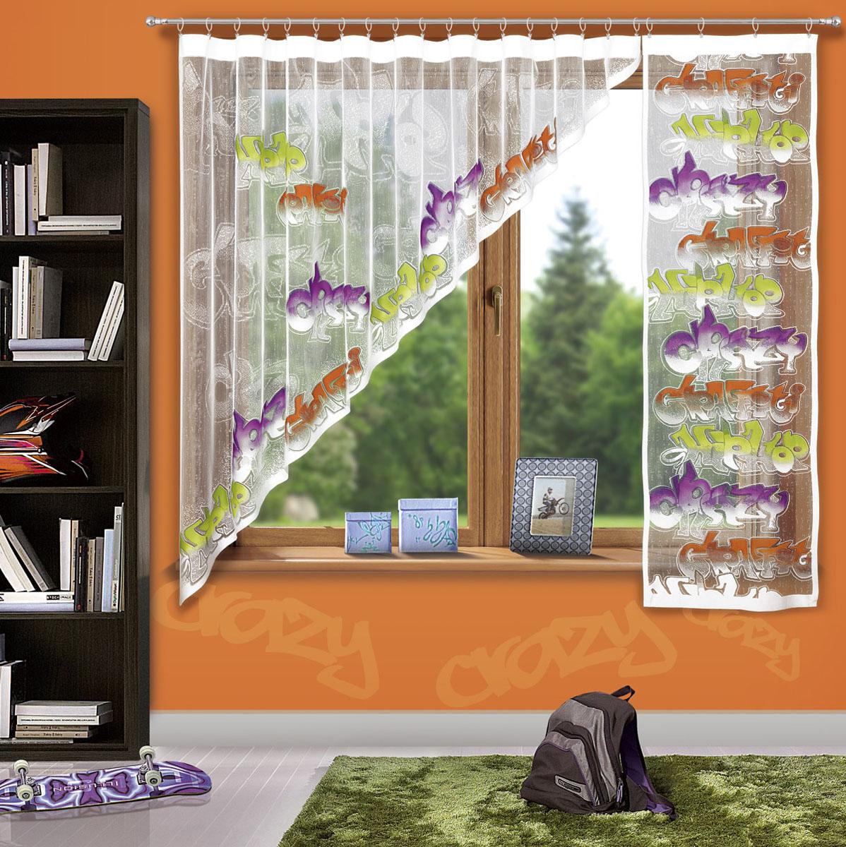 Гардина Wisan, цвет: белый, высота 180 см3359Жаккардовая гардина в детскую комнату с цветным узором тематики граффити. Состоит из двух частей. Крепится на кулиску. Размеры: ширина 300х высота 180+ ширина 60х высота 180