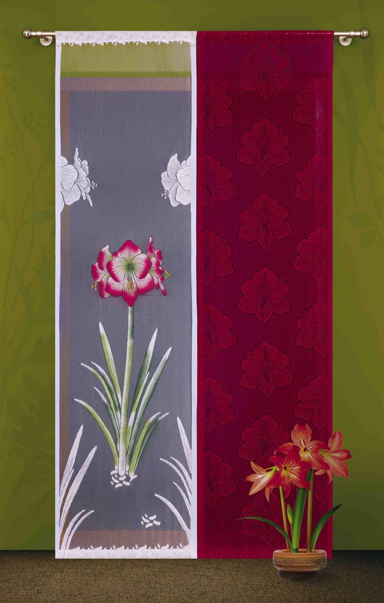 Гардина-панно Wisan, цвет: бордовый, белый, высота 240 см3361гардина-панно на кулиске, состоящая из двух жаккардовых частей: однотонная бордовая и белая с цветным рисунком Размеры: ширина 60 * высота 240*2