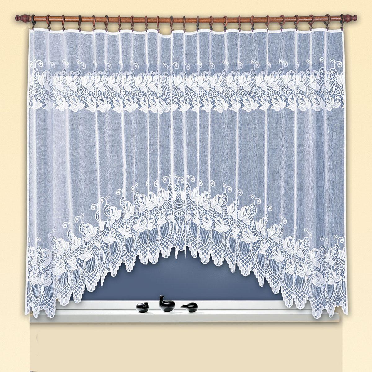 Гардина Haft, цвет: белый, ширина 300 см, высота 160 см. 38180/16038180/160Жаккардовая гардина-арка белого цвета для комплекта под балконный блок Размеры: высота 160см* ширина300см