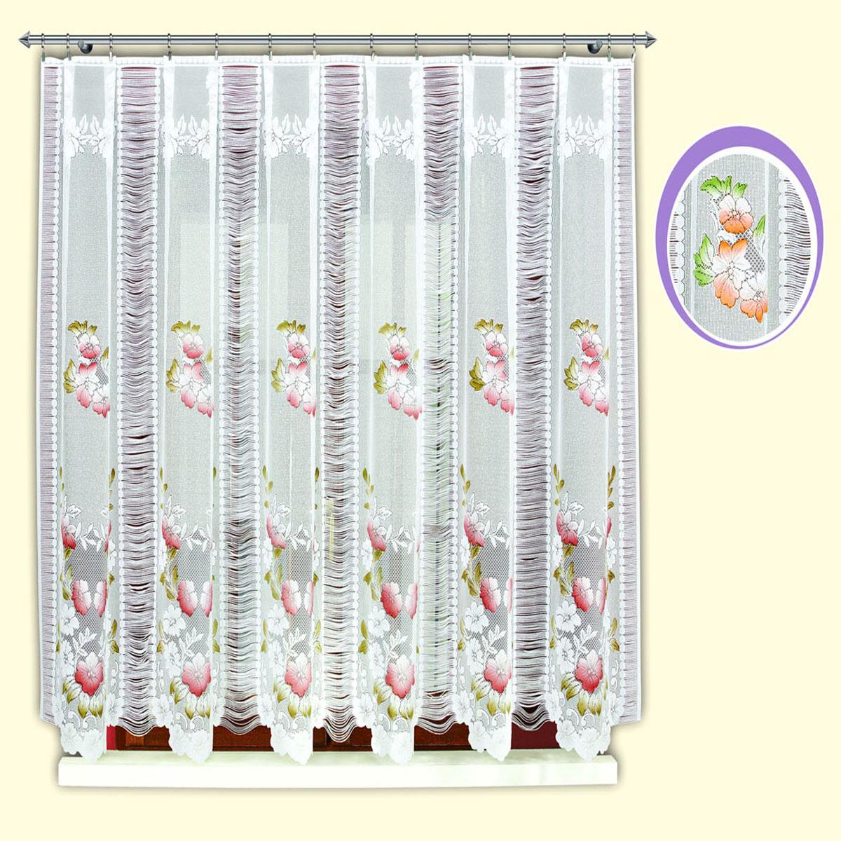Гардина Haft, цвет: бордо, ширина 300 см, высота 150 см. 42120/15042120/150Жаккардовая гардина в кухню белого цвета с цветным рисунком бордовых цветов и нитяным чередующимся компонентом Размеры: высота 150см*ширина 300см