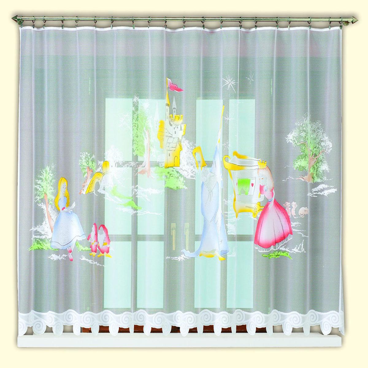 Гардина Haft, цвет: белый, ширина 300 см, высота 150 см. 42830/15042830/150жаккардовая гардина белого цвета в едсткую комнату девочки с цветным рисунком принцессы Размеры: высота 150см*ширина 300см