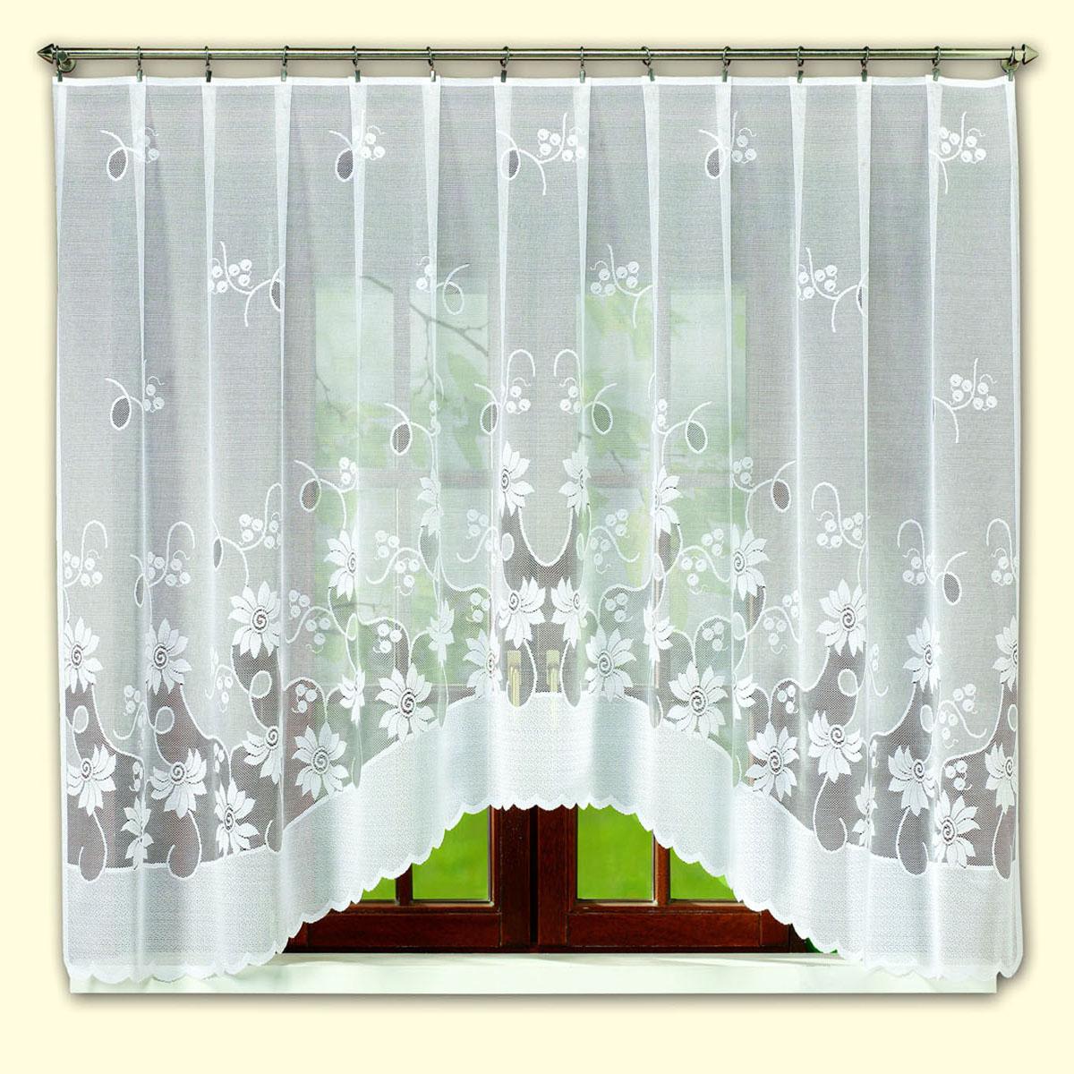 Гардина Haft, цвет: белый, ширина 400 см, высота 145 см. 46171/1454617/175жаккардовая гардина белого цвета на широкое окно Размеры: высота 175см, ширина 400 см