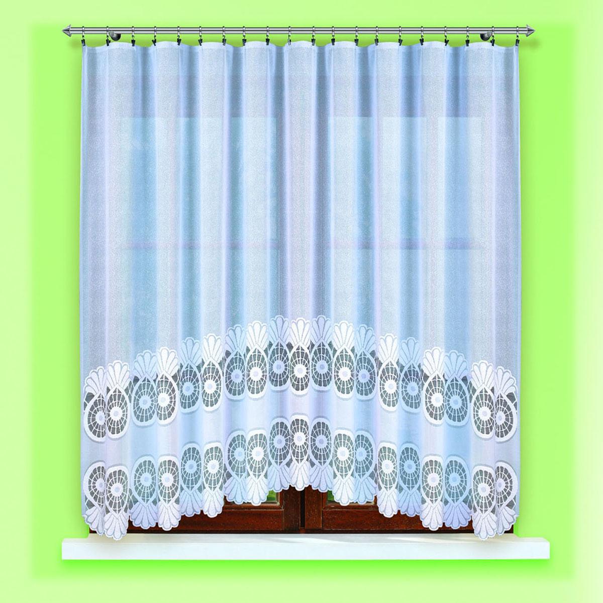 Гардина Haft, цвет: белый, ширина 300 см, высота 150 см. 46960/15046960/150жаккардовая гардидна в кухню белого цвета Размеры: высота150см*ширина 300см