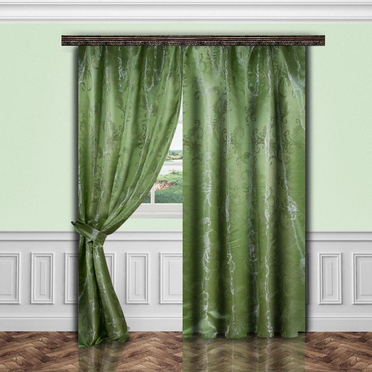 Комплект штор Zlata Korunka, на ленте, цвет: зеленый, высота 260 см. 5564055640Роскошный комплект штор Zlata Korunka, выполненный из полиэстера, великолепно украсит любое окно. Комплект состоит двух штор и двух подхватов. Изящный узор и приятная цветовая гамма привлекут к себе внимание и органично впишутся в интерьер помещения. Этот комплект будет долгое время радовать вас и вашу семью! Комплект крепится на карниз при помощи ленты, которая поможет красиво и равномерно задрапировать верх. В комплект входит: Штора: 2 шт. Размер (Ш х В): 145 см х 260 см. Подхват: 2 шт.