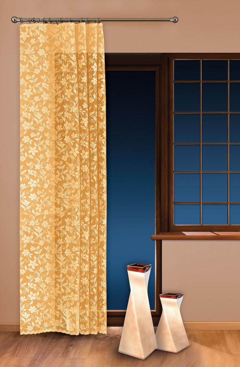 Гардина-тюль Wisan, цвет: желтый, ширина 150 см, высота 250 см5924 желтыйжаккардовая узорчатая гардина-тюль на шторной ленте ширина 150* высота 250 Размеры: ширина 150* высота 250