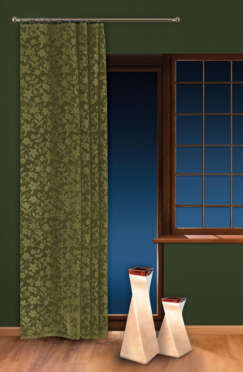 Гардина-тюль Wisan, цвет: зеленый, ширина 150 см, высота 250 см5924 зеленыйжаккардовая узорчатая гардина-тюль на шторной ленте ширина 150* высота 250 Размеры: ширина 150* высота 250