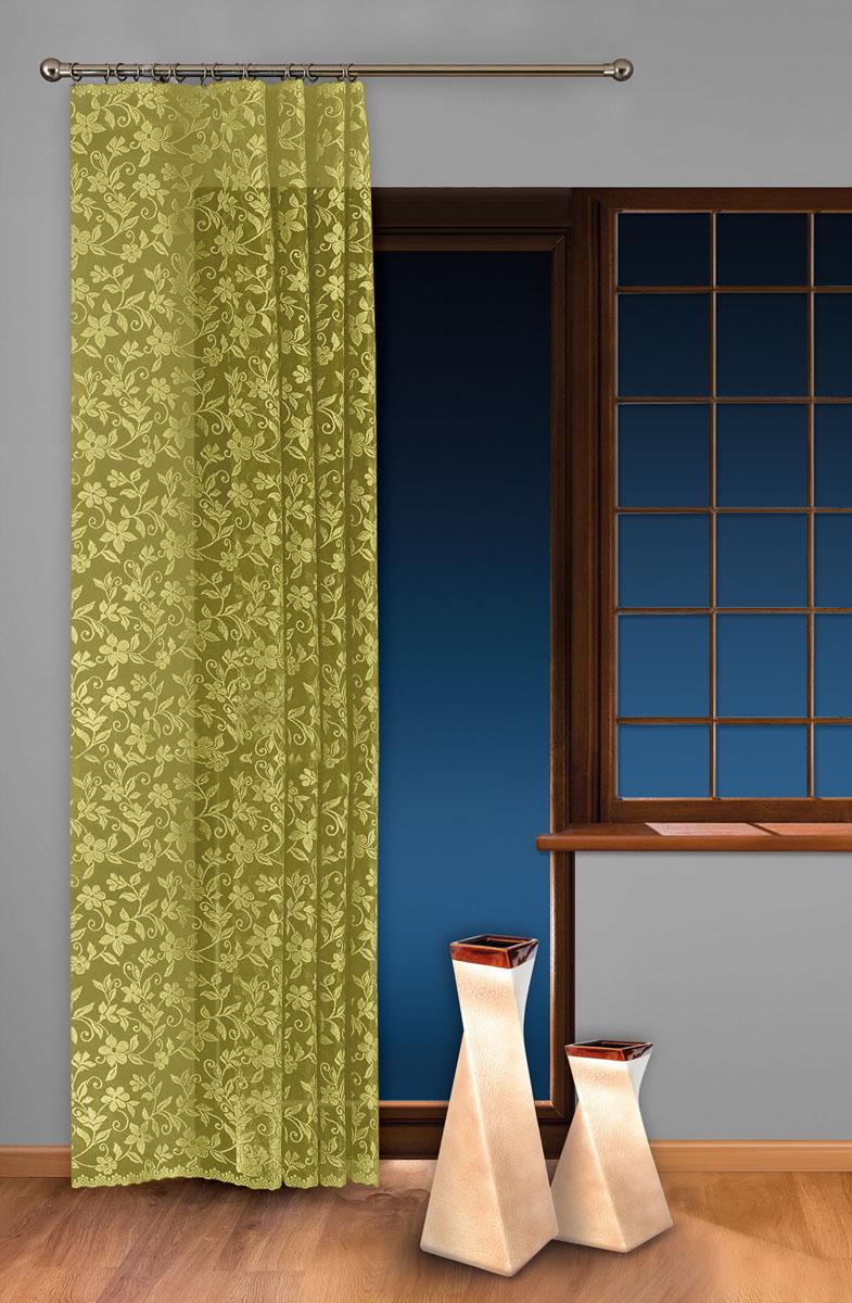 Гардина-тюль Wisan, цвет: салатовый, ширина 150 см, высота 250 см5924 салатовыйжаккардовая узорчатая гардина-тюль на шторной ленте ширина 150* высота 250 Размеры: ширина 150* высота 250