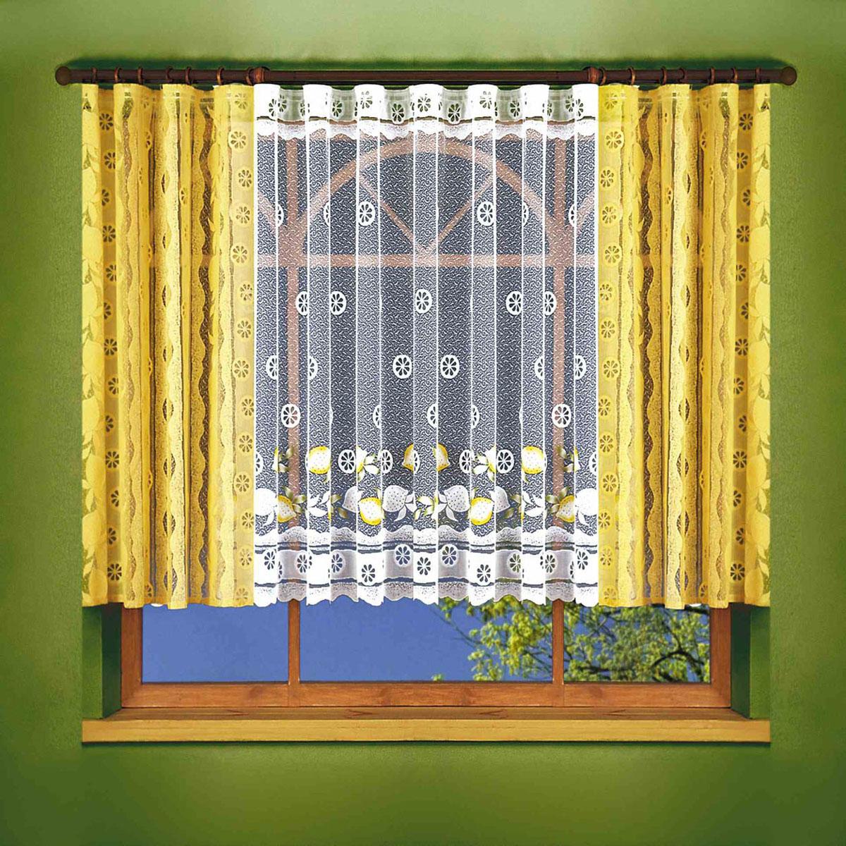 Комплект штор Wisan, цвет: желтый, высота 150 см. 61096109жаккардовый комплект штор на шторной ленте Размеры: тюль -шир.400*выс.150+шторы-(шир.150*выс.15)*2
