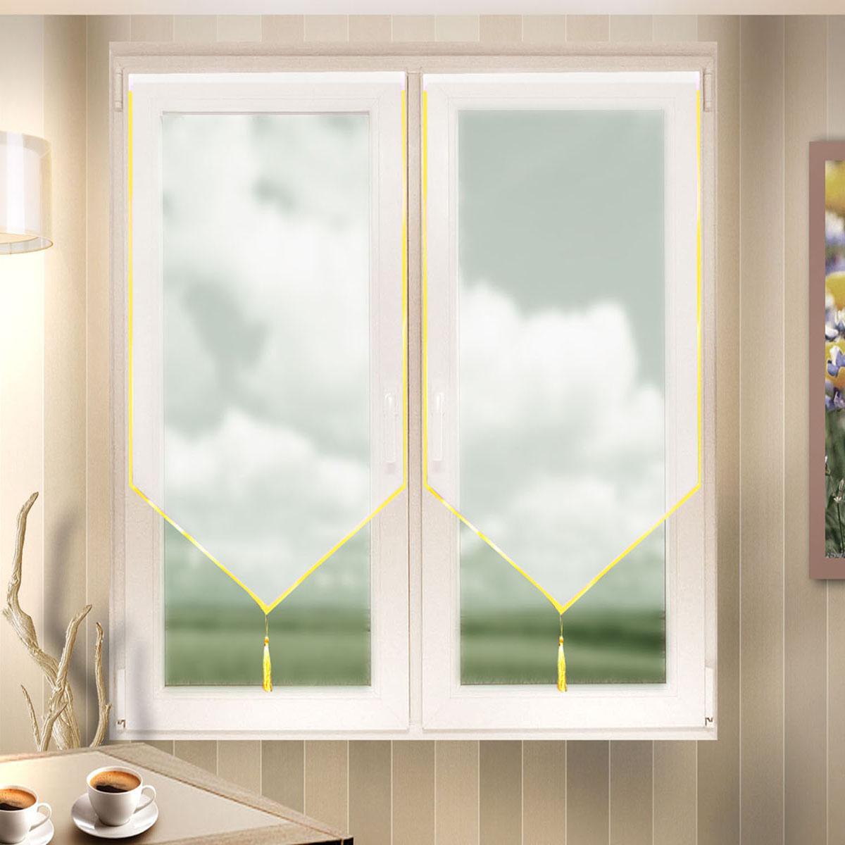 Гардина Zlata Korunka, цвет: белый, ширина 60 см, высота 140 см. 666022666022Лучшая альтернатива рулонным шторам на кухне – шторы на липкой ленте. Особенность этих штор заключается в том, что они имеют липкую основу в месте крепления . Лента или основа надежно и быстро крепится на раму окна, а на нее фиксируется сама штора. Размеры: ширина 60* высота 140
