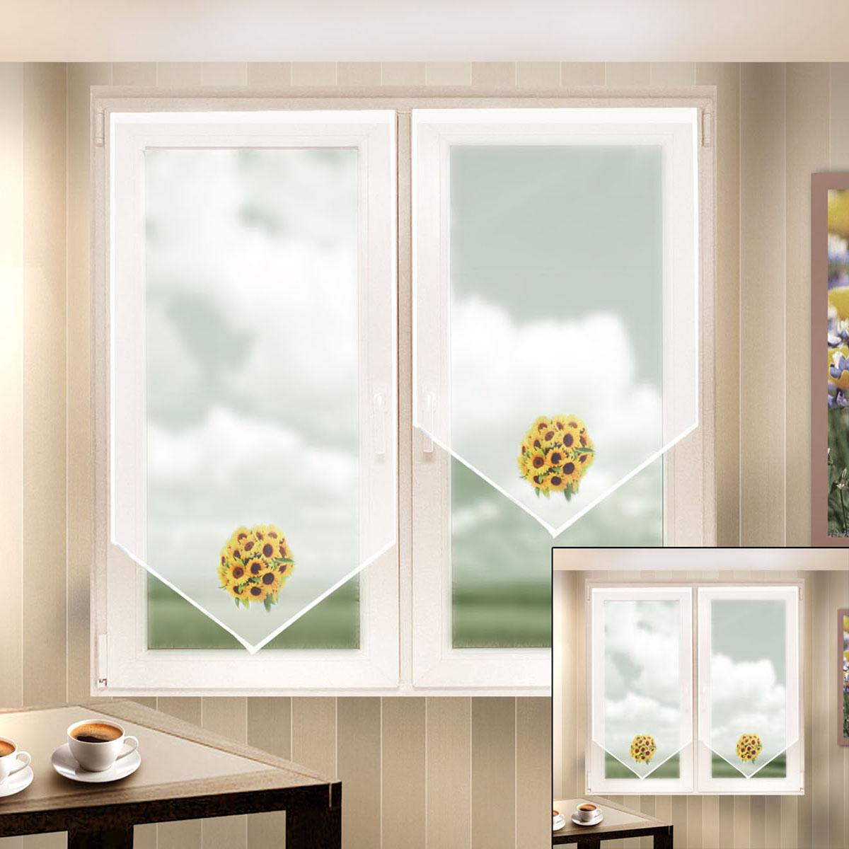 Гардина Zlata Korunka, цвет: белый, высота 140 см. 666055666055Шторы из материала вуаль, для кухни, белого цвета с печатным рисунком. Крепление на липкой ленте, не требующее сверления стен и карниза. Многоразовое и мгновенное крепление. Штора 2 шт.- шир.60 х выс.140 Размеры: (ширина 60* высота 140)*2