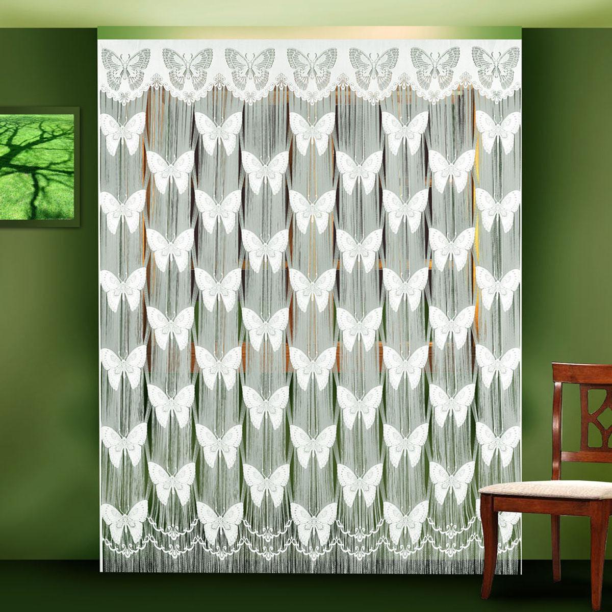 Гардина Zlata Korunka, цвет: белый, ширина 250 см, высота 250 см. 8880188801 белыйПрекрасное украшение для окон, дверных проемов. Гардина-лапша выполнена из синтетических волокон с выработкой по всему полотну порхающих бабочек, крепление на зажим для штор, который в комплект не входит, размер шир. 250*выс.250 Размеры: 250*250