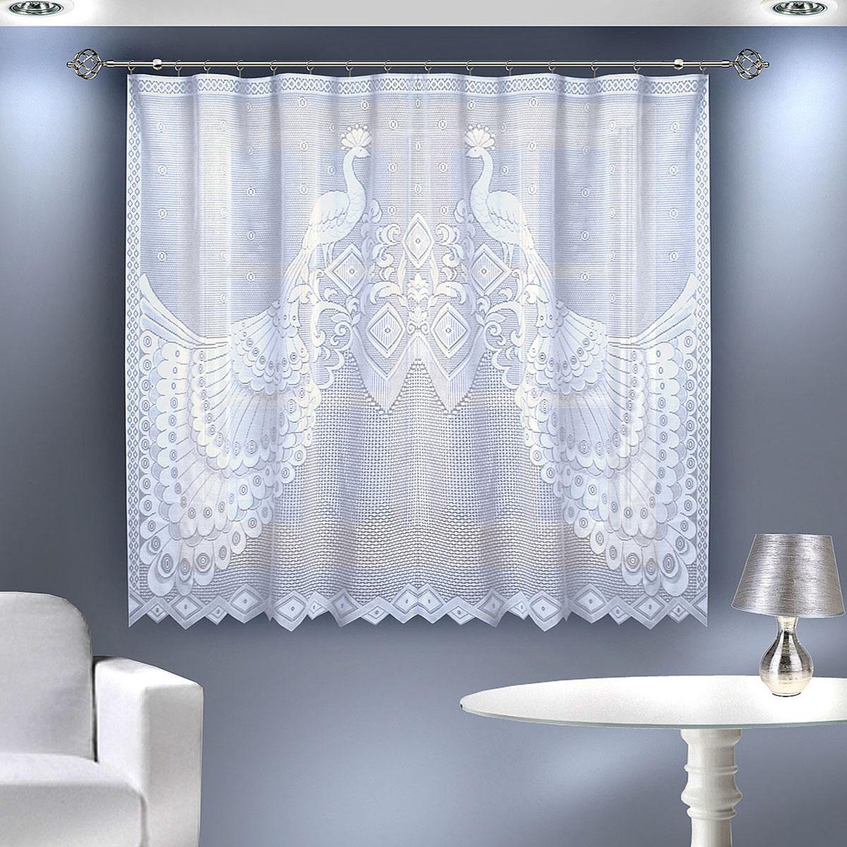 Гардина Zlata Korunka, цвет: белый, ширина 200 см, высота 145 см88805 белыйГардина из тюле-кружевного полотна, крепление через прорези,сделанные в верхней части или на зажим для штор. Размеры: 200*145