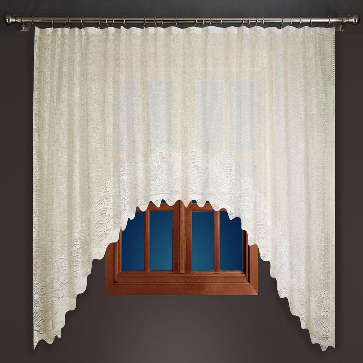Гардина Zlata Korunka, цвет: бежевый, ширина 350 см, высота 180 см88865Гардина, выполнена из полиэфирных нитей кремового цвета, вызывающие приятные тактильные ощущения, высотой 180 см. Станет прекрасным украшением окна. Крепится на зажим для штор, который не входит в комплект. Гардина - шир.350 х выс.180 Размеры: 180*350
