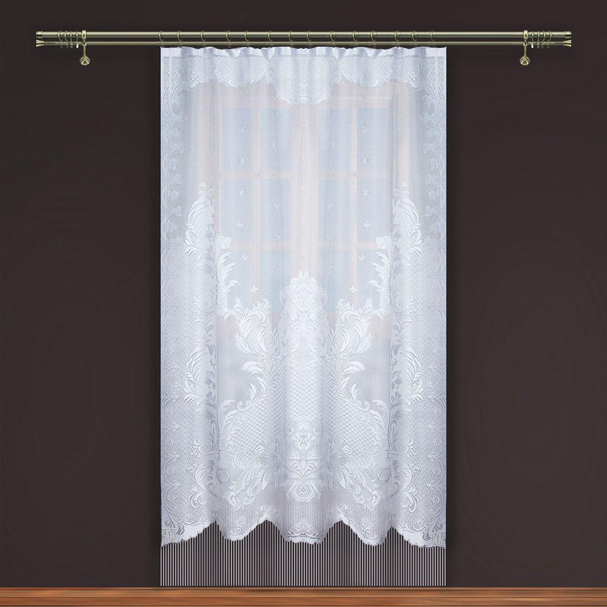 Гардина Zlata Korunka, на зажимах, цвет: белый, высота 250 см. 8886688866Гардина Zlata Korunka, изготовленная из высококачественного полиэстера, станет великолепным украшением любого окна. Изящный узор и тюле-кружевная текстура полотна привлекут к себе внимание и органично впишутся в интерьер комнаты. Оригинальное оформление гардины внесет разнообразие и подарит заряд положительного настроения. Крепится на зажимах для штор.